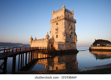 Belem Tower on the Tagus river in the morning, famous city landmark in Lisbon, Portugal.