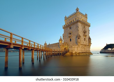 The Belem Tower on the Tagus River. Lisbon, Portugal.