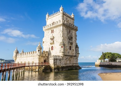 Belem Tower on the Tagus River a famous landmark in in Lisbon Portugal