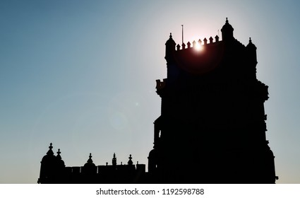 Belem Tower silhouette with dramatic blue sky at sunset, Belem, Lisbon, Portugal - UNESCO World Heritage Site