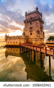 Belem tower at sunset in Lisbon, Portugal