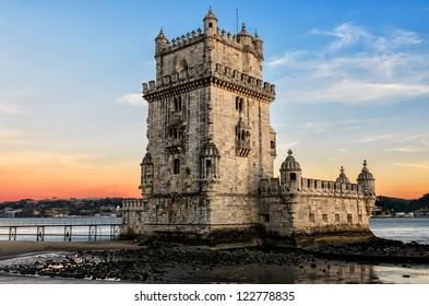Belem tower at sunset - Lisbon, Portugal