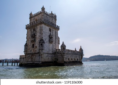 Belem tower from the Tage river to Lisbon Portugal