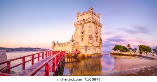 The Belem Tower (Torre de Belem), Lisbon, Portugal. At the margins of the Tejo river, it is an iconic site of the city. Originally built as a defence tower, today it is used as a museun.