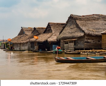 Belen, Peru - May 2016: Wooden floating houses and houses on stilts in the floodplain of the Itaya River, the poorest part of Iquitos - Belén. Venice of Latin America. Iquitos, South America, Amazonia