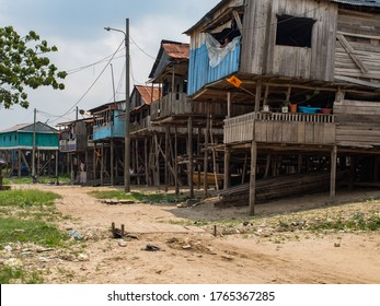 Belen, Peru - Sep 2017: Wooden houses on stilts in the floodplain of the Itaya River, the poorest part of Iquitos - Belén. Venice of Latin America. Iquitos, South America, Amazonia. Low water season.