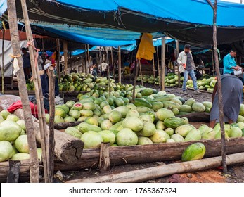 Belen, Peru - Sep 2019: Bazaar with the fruits on the bank of the Itaya River, the poorest part of Iquitos, Belén. Venice of Latin America. Iquitos, South America, Amazonia