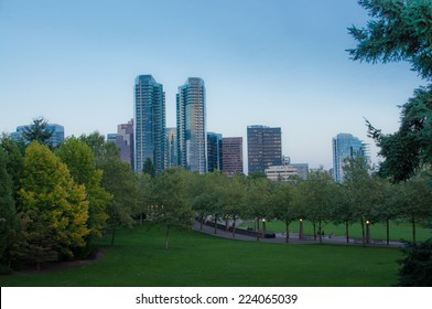 Belevue downtown park in the evening, Washington state, autumn