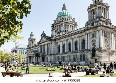 Belfast, Antrim, Northern Ireland - 03 May, 2017: Belfast City Hall and Grounds, on a sunny day.