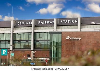 Belfast, Antrim, Northern Ireland - February 19, 2016: Northern Ireland Railways (NIR) Central Railway Station, Belfast. Passenger access to trains across Northern Ireland and to Dublin.