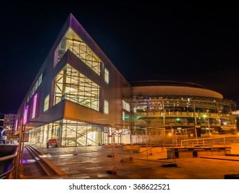 Belfast, Antrim, Northern Ireland - January 25, 2016: Waterfront Hall Conference Centre. The new extension to the Waterfront Hall venue in Belfast is almost complete