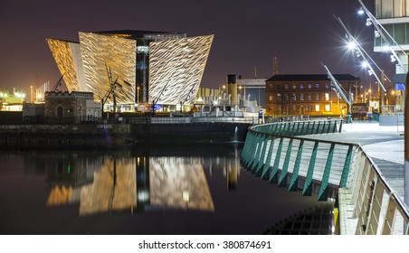 Belfast, Antrim, Northern Ireland -January 11, 2016: The new Titanic Visitors Centre. Situated between industrial buildings and docklands.