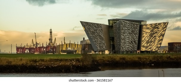 Belfast, Antrim, Northern Ireland -January11, 2016: The new Titanic Visitors Centre. Situated between industrial buildings and docklands.