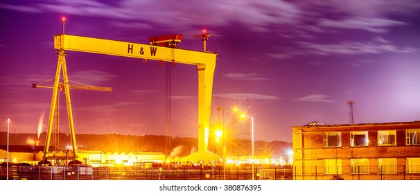 Belfast, Antrim, Northern Ireland -January11, 2016: 'Goliath' Crane in Harland and Wolff Shipyard, Belfast, one of a pair of gantry cranes which define the Belfast skyline.