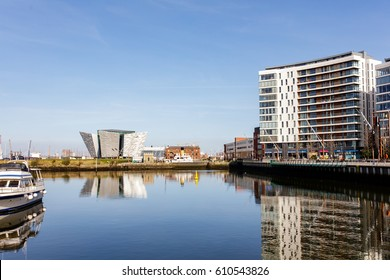 Belfast, Antrim, Northern Ireland -March 28, 2017: The New Titanic Visitors Centre and Titanic Quarter, Belfast.