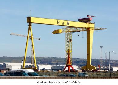 Belfast, Antrim, Northern Ireland -March 28, 2017: Harland and Wolff Cranes (Samson and Goliath) in Titanic Quarter, Belfast.
