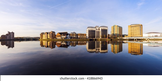 Belfast architecture along River Lagan. Belfast, Northern Ireland, United Kingdom.