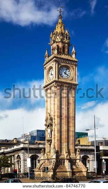 Belfast Clock  tower - Prince Albert Memorial Clock at Queen's Square in Belfast, Northern Ireland