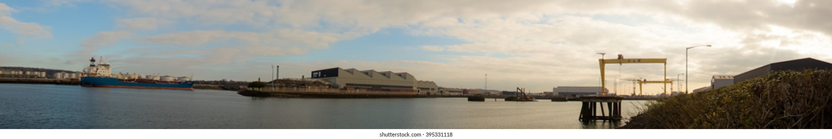 Belfast, County Antrim, Northern Ireland - March 20, 2016: Harland and Wolff Shipyard Cranes, Belfast Docklands Panoramic.