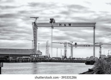 Belfast, County Antrim, Northern Ireland - March 20, 2016: Harland and Wolff Shipyard Cranes, Belfast Docklands.