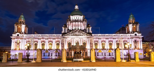 Belfast, County Antrim, Northern Ireland - Aprl 18, 2016:  Belfast City Hall, home of the local council in the heart of the city centre.