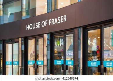 Belfast, County Antrim, Northern Ireland - Aprl 27, 2016: House of Fraser, part of Victoria Square shopping centre.