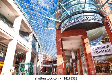 Belfast, County Antrim, Northern Ireland - Aprl 27, 2016: Victoria Square Shopping Centre in Belfast City Centre. The Dome has views across the city.