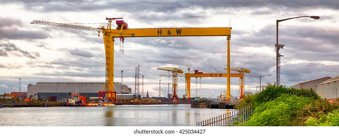 Belfast, County Antrim, Northern Ireland -May 19, 2016: Harland and Wolff Shipyard Cranes, Belfast Docklands.