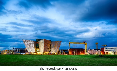 Belfast, County Antrim, Northern Ireland -May 19, 2016: Titanic Belfast, Museum and Visitor Center, one of Belfast's most iconic landmarks, on the site where Titanic was built.