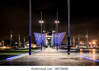 Belfast, County Antrim, Northern Ireland - February 23, 2017: Titanic Belfast, Museum and Visitor Center, one of Belfast's most iconic landmarks, on the site where Titanic was built.