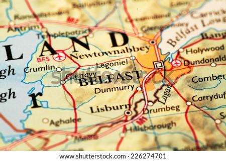 Belfast Ireland On Atlas World Map Stock Photo Edit Now 226274701