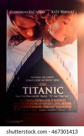 BELFAST, NI - JULY 14, 2016: James Cameron film Titanic poster in the Titanic Belfast, visitor attraction dedicated to the RMS Tinanic, a ship whic sank by hitting an iceberg in 1912.
