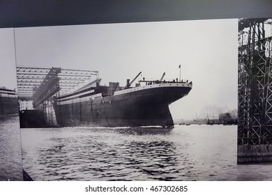 BELFAST, NI - JULY 14, 2016: Documental picture of building of the Titanic in the Titanic Belfast, visitor attraction dedicated to the RMS Tinanic, a ship whic sank by hitting an iceberg in 1912.