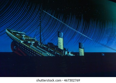 BELFAST, NI - JULY 14, 2016:  Sinking process of Titanic in the  Titanic Belfast, visitor attraction dedicated to the RMS Tinanic, a ship whic sank by hitting an iceberg in 1912.