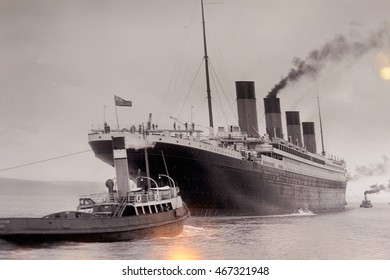BELFAST, NI - JULY 14, 2016: Documental picture of Titanic in the Titanic Belfast, visitor attraction dedicated to the RMS Tinanic, a ship whic sank by hitting an iceberg in 1912.