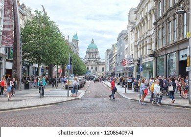 Belfast, Northern Ireland - 08.04.2018: Belfast City Hall is the civic building of Belfast City Council located in Donegall Square
