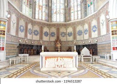 Belfast, Northern Ireland - 08.06.2018: St. Peter's Cathedral, Belfast is the Roman Catholic cathedral church for the Diocese of Down and Connor. The altar.