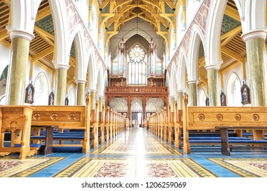 Belfast, Northern Ireland - 08.06.2018: St. Peter's Cathedral, Belfast is the Roman Catholic cathedral church for the Diocese of Down and Connor. The organ