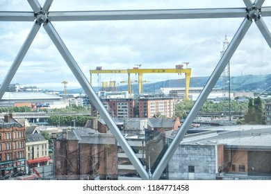 Belfast, Northern Ireland - 08.06.2018: Victoria Square is a shopping and leisure complex located in Belfast, Northern Ireland. Looking on the famous cranes Samson and Goliath from the glass dome
