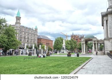 Belfast, Northern Ireland: 08.07.2018: Belfast City Hall is the civic building of Belfast City Council located in Donegall Square, Belfast, Northern Ireland