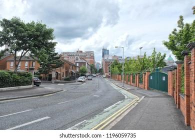 Belfast, Northern Ireland - 08.07.2018: Looking on Europe Hotel from Hamilton Street in Belfast