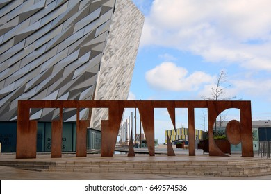 BELFAST, NORTHERN IRELAND - APRIL 24: Titanic Museum in 24 April, 2017 at Belfast. Titanic Museum is one of the best tourist attraction of Belfast.
