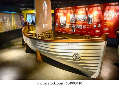 BELFAST, NORTHERN IRELAND - APRIL 24: Titanic lifeboat 24 April, 2017 at Belfast. Titanic was made in Belfast.