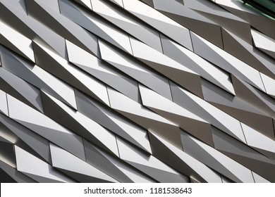 Belfast, Northern Ireland - August 23rd 2018: A detail of the modern architecture of the Titanic Belfast museum on the site of the former Harland and Wolff shipyard where the RMS Titanic was built.