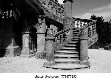 Belfast, Northern Ireland, August 29, 2016. Black and white photograph of stairs leading to Belfast Castle