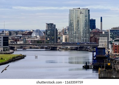 Belfast, Northern Ireland - August 8, 2018:  City of Belfast, capital and the largest city in Northern Ireland, resides along the River Lagan.