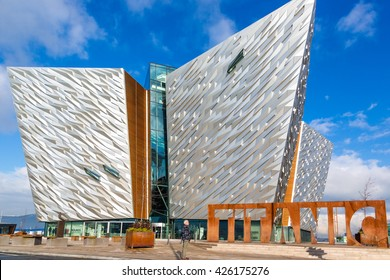 Belfast, Northern Ireland - February 24th 2015 - The Titanic museum in a blue sky day.