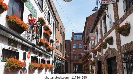 BELFAST, NORTHERN IRELAND- JUlY 1, 2018: Belfast's Cathedral Quarter, a popular area for nightlife with pubs and live music