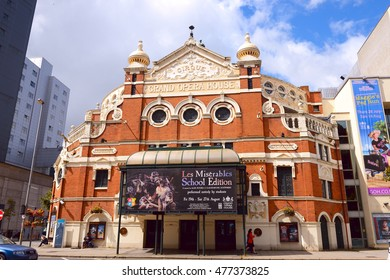BELFAST, NORTHERN IRELAND- JULY 30, 2016:The Grand Opera House. The building was designed by Frank Matcham, is an example of the Oriental style of architecture, and opened on December 23, 1895.