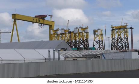 BELFAST, NORTHERN IRELAND – JUNE 01, 2019: The famous Samson and Goliath twin gantry cranes in the Docks of Belfast